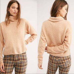 Free People Cozy Cashmere Turtleneck Beige Sweater